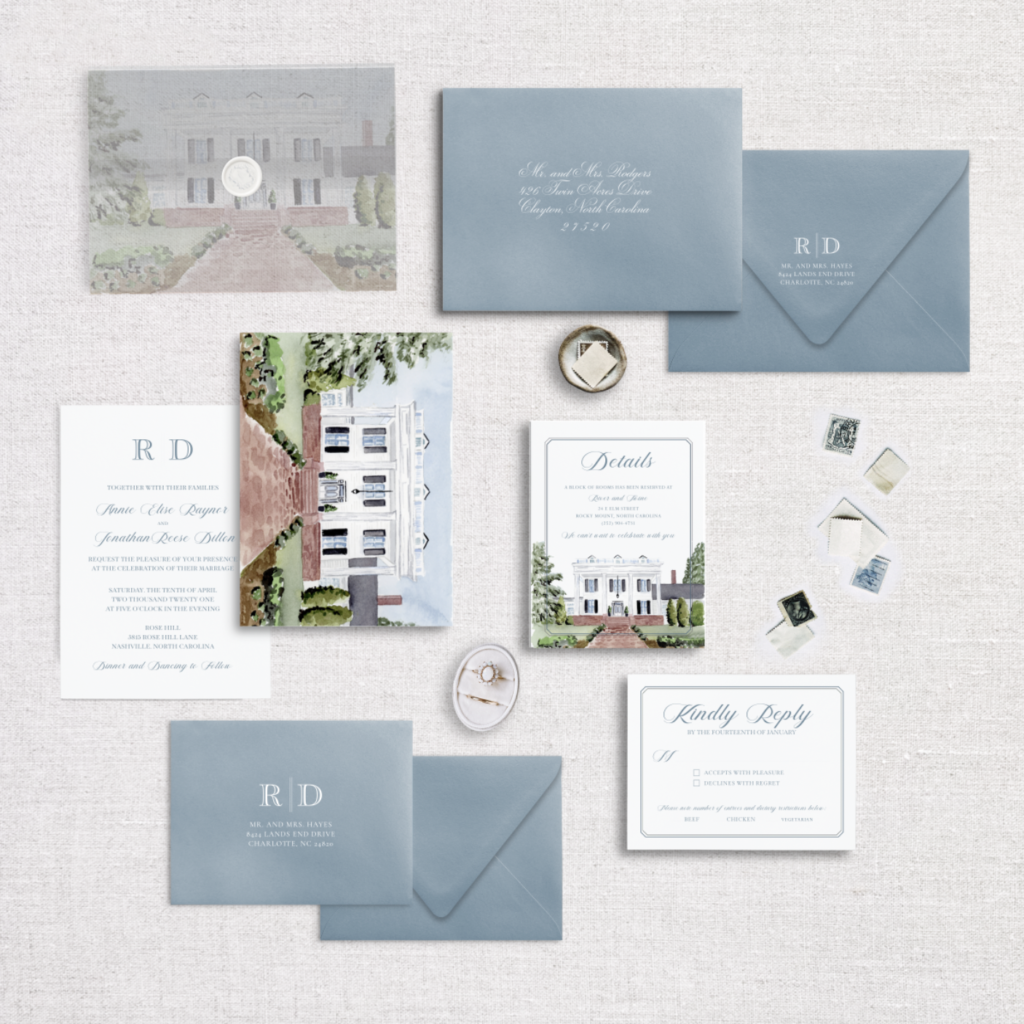 Rose Hill Wedding Invitation - The Vellum Peek Suite from The Venue Collection by Ashley Triggiano