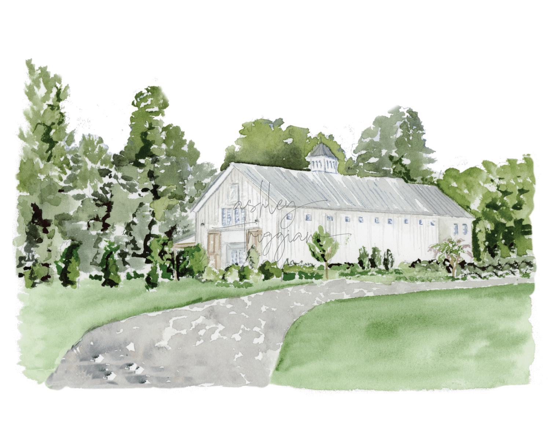 Barn of Chapel Hill Watercolor Illustration