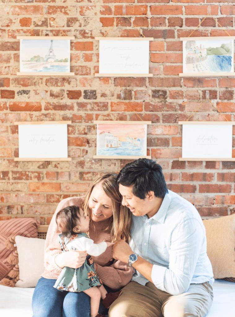 Ashley Triggiano and family in art studio