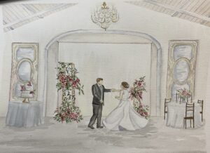 Merrimon Wynne Live Wedding Painting for Winter Wedding
