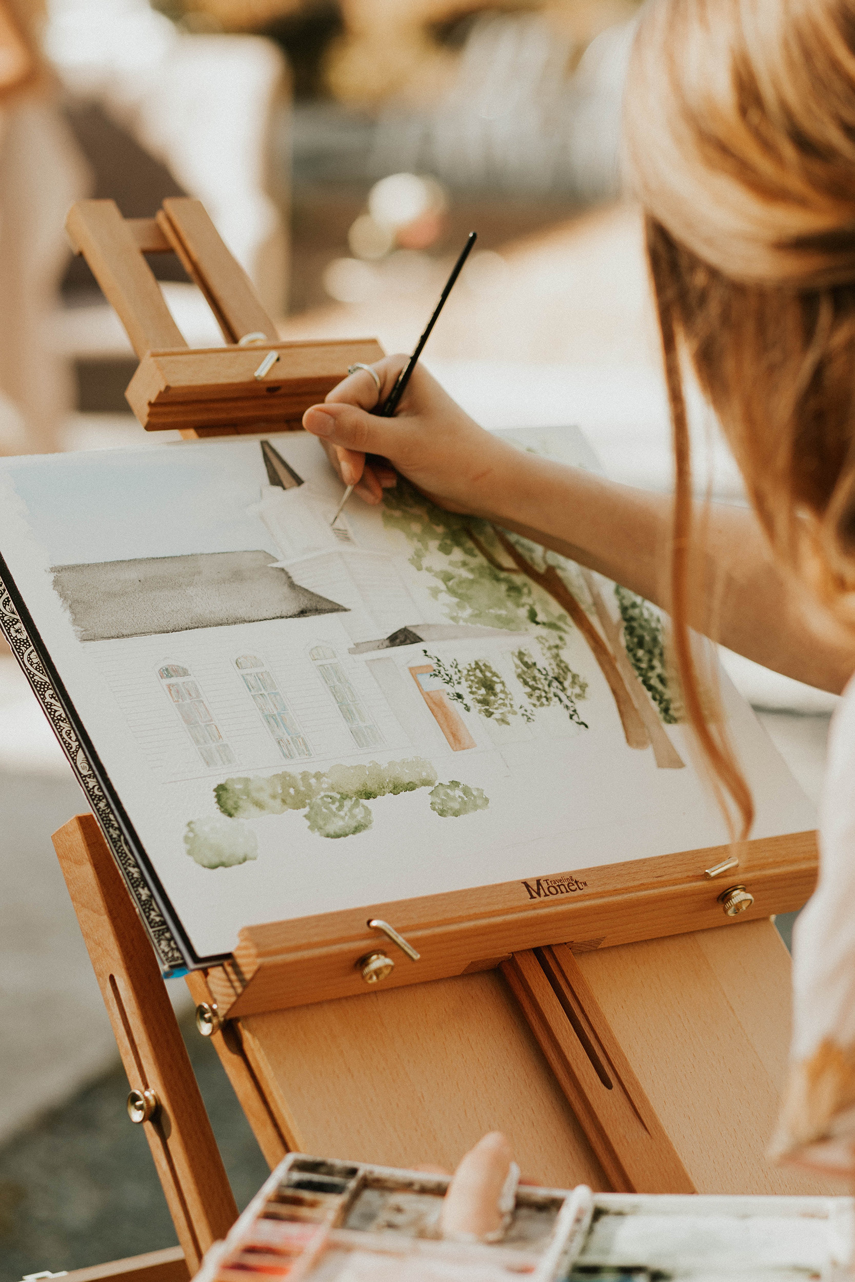 Watercolor artist does live painting of wedding venue in North Carolina