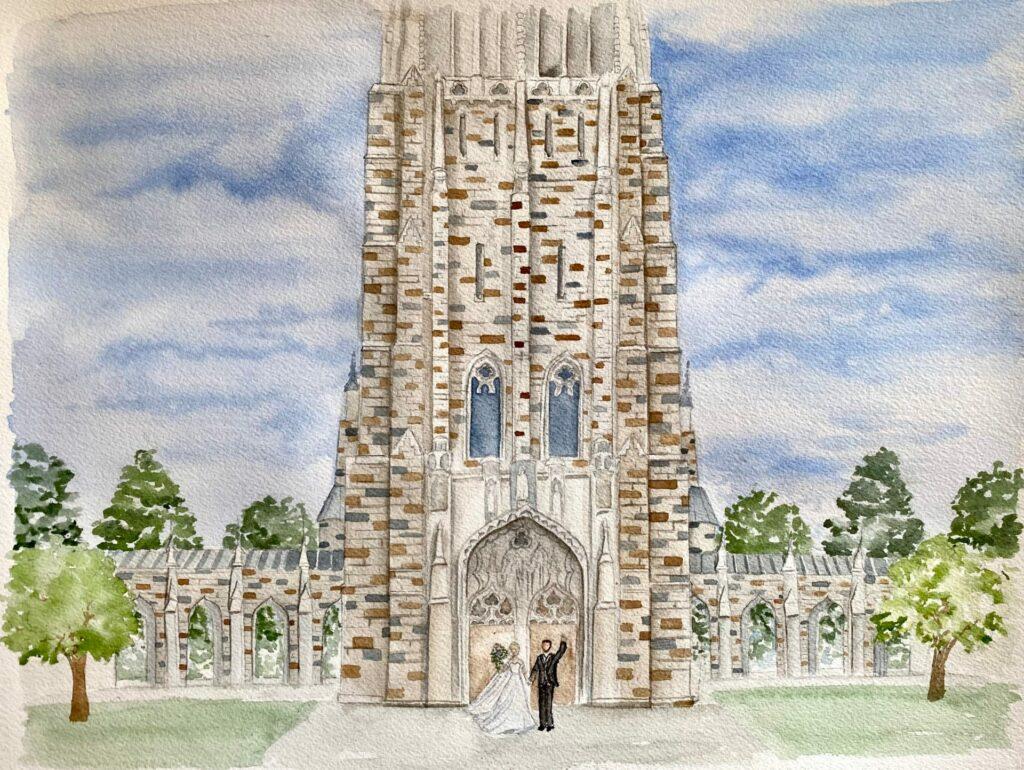 Duke Chapel Live Wedding Painting Watercolor Painting