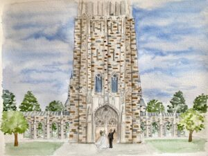 Duke Chapel Live Wedding Painting Watercolor Painting
