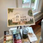 Merrimon Wynne venue painting - live wedding painting