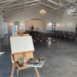 Merrimon Wynne carriage house reception live wedding painting