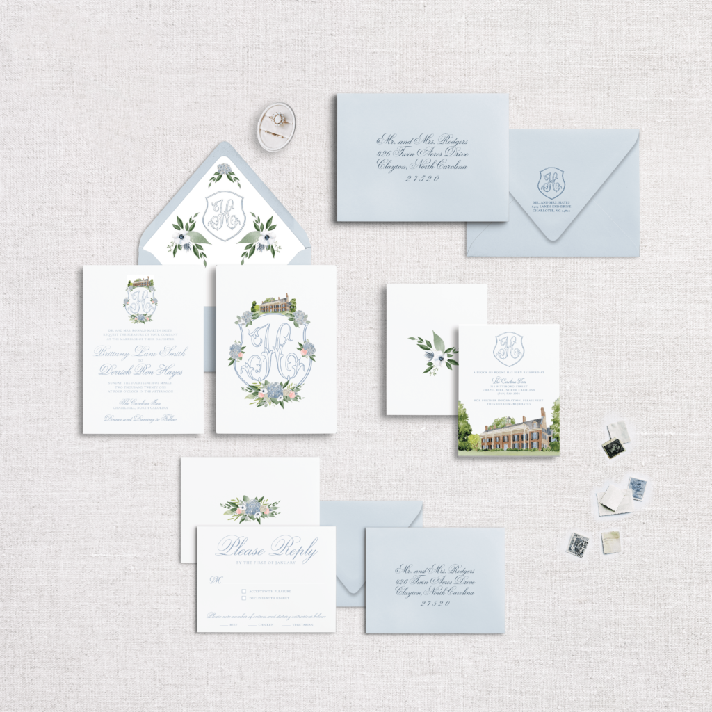 The Carolina Inn Wedding Invitations - The Floral Crest Suite. -Venue Illustration by Ashley Triggiano