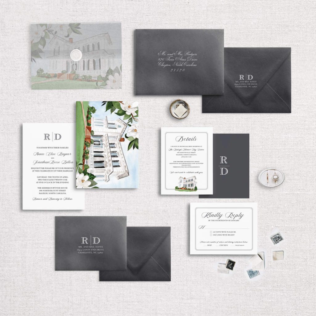 The Vellum Peek Suite featuring Merrimon Wynne - Watercolor Wedding Invitation