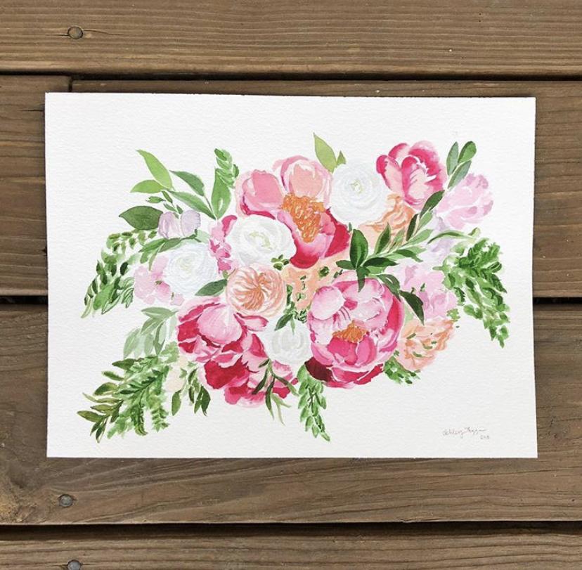 Floral bouquet custom watercolor portrait