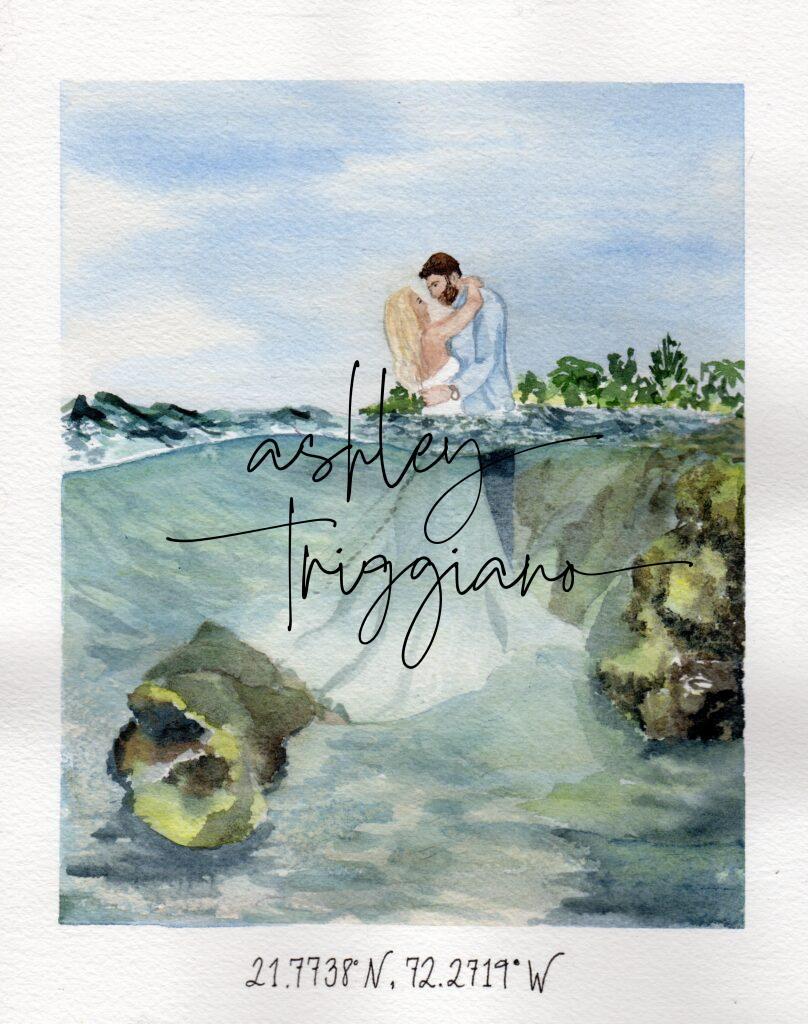 custom watercolor portrait of wedding couple in the ocean