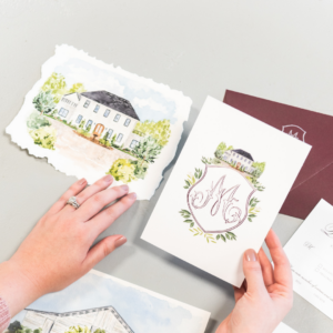 The Bradford Wedding Invitations - Custom Wedding Stationery Watercolor Crest of The Bradford