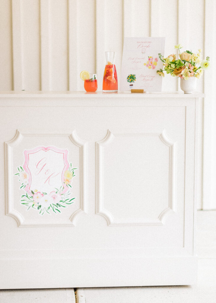 custom bar decal - watercolor monogram by Ashley Triggiano as seen on style me pretty