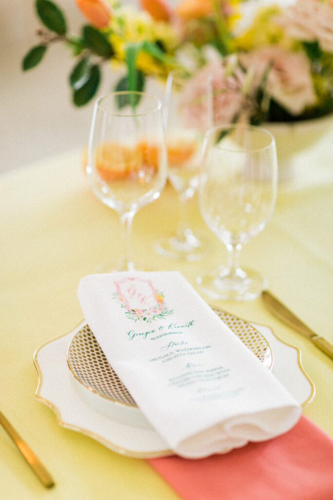 citrus wedding invitations - custom watercolor wedding stationery with a monogram crest and pink lemonade twist! By Ashley triggiano - as featured on style me pretty