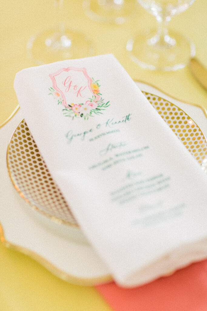 citrus wedding menu napkin - custom watercolor wedding stationery with a monogram crest and pink lemonade twist! By Ashley triggiano - as featured on style me pretty