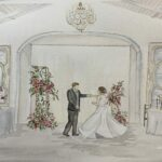 Couple dancing in live wedding painting
