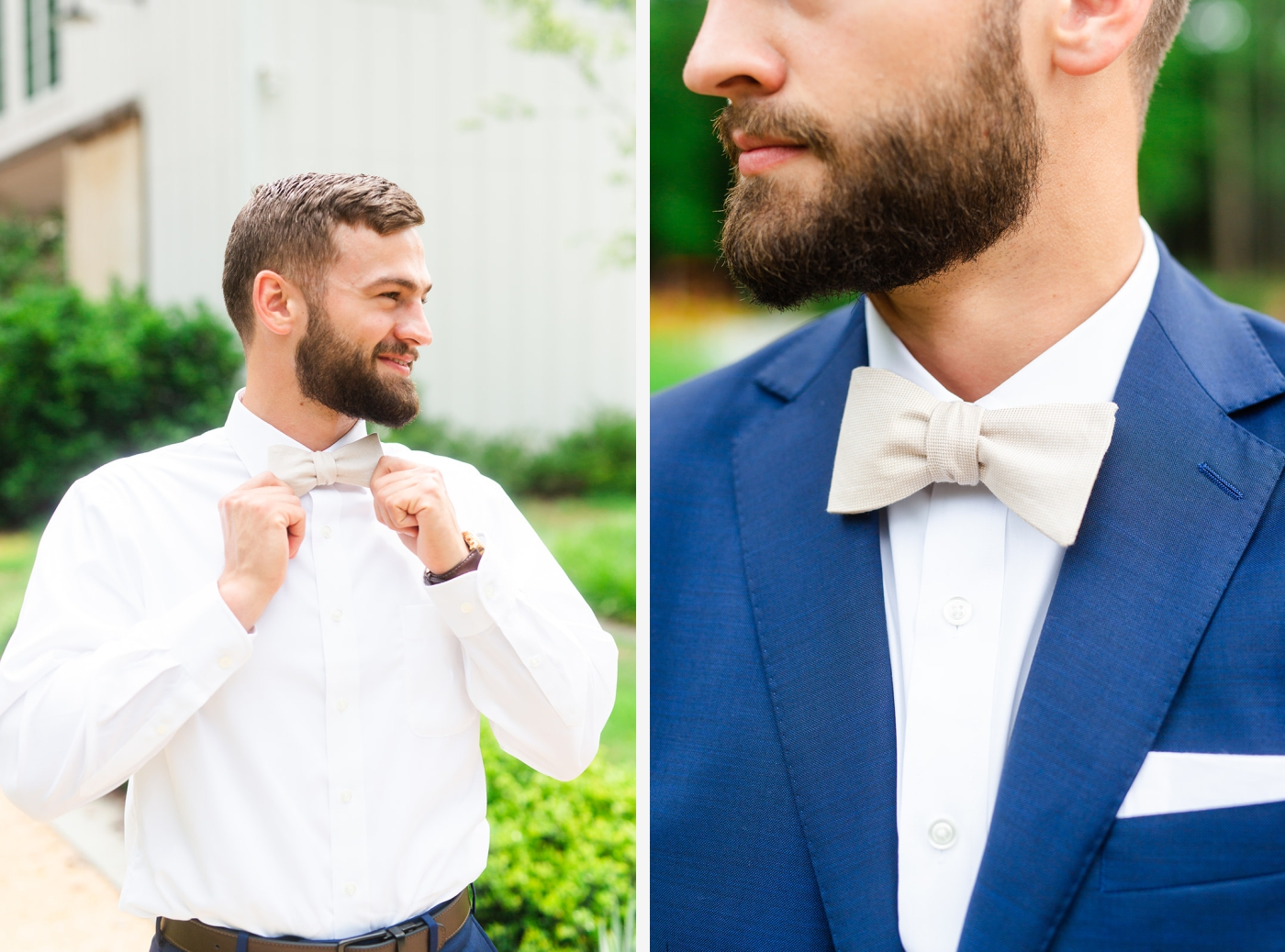 groom with tan bowtie at the Barn at Chapel Hill