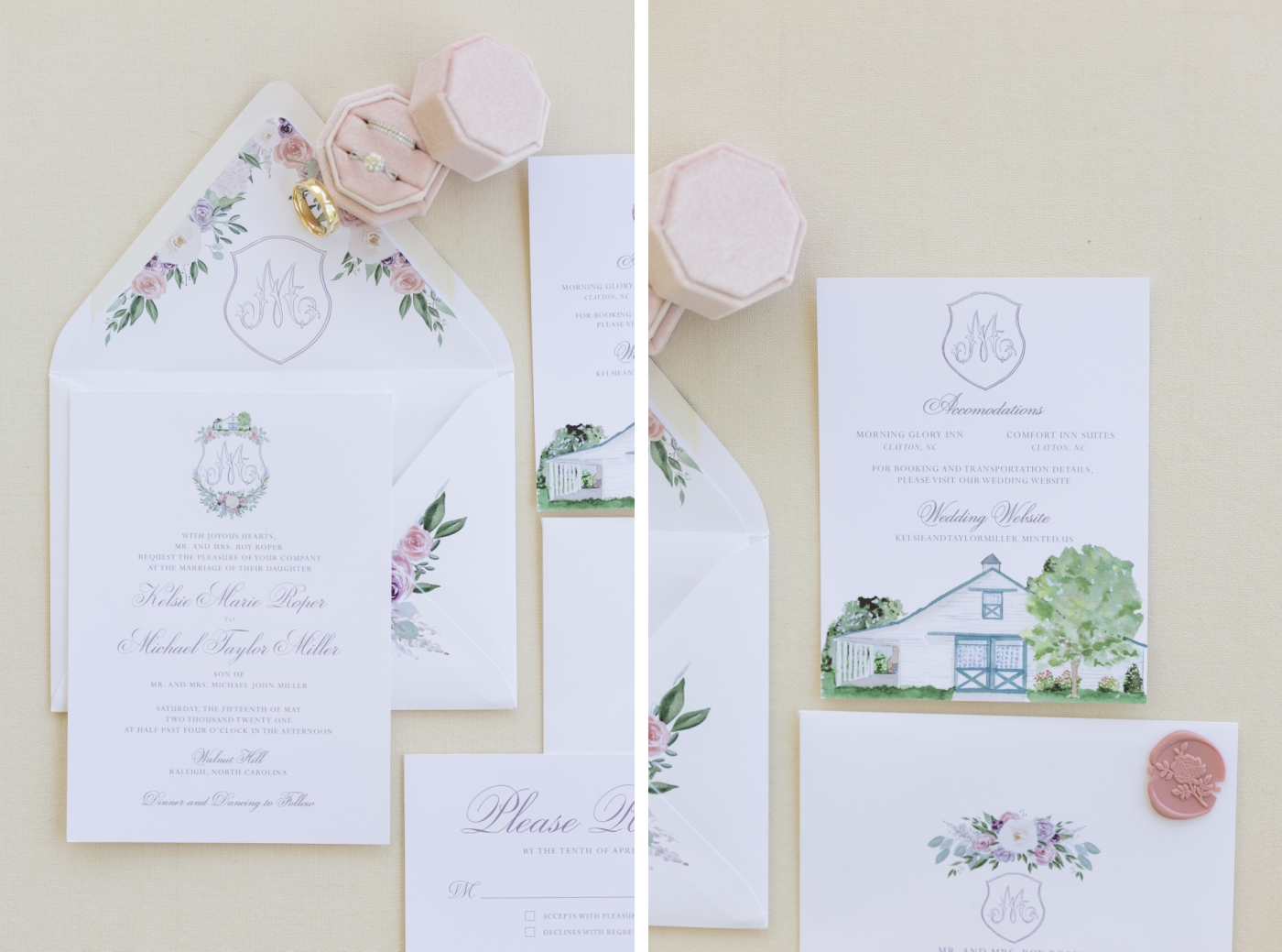 Lavender and blush hand painted wedding invitations for a wedding at Walnut Hill