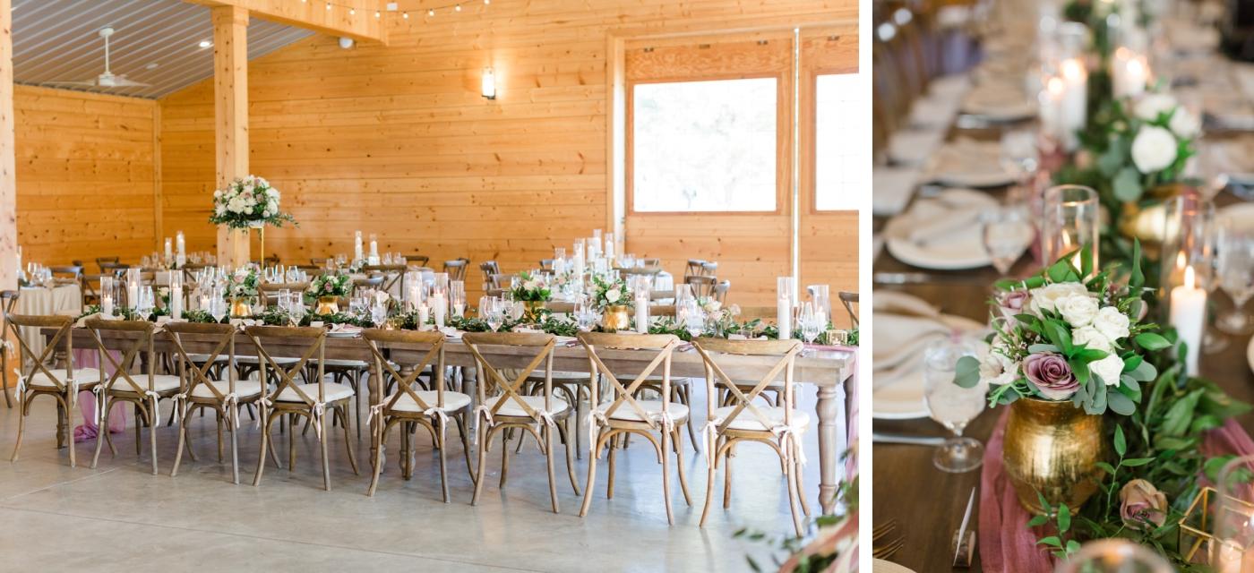 wedding reception details at Walnut Hill