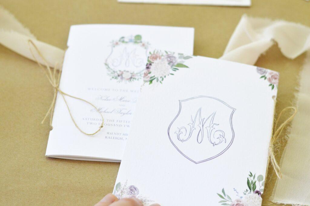 custom wedding booklets for wedding at Walnut Hill in Raleigh