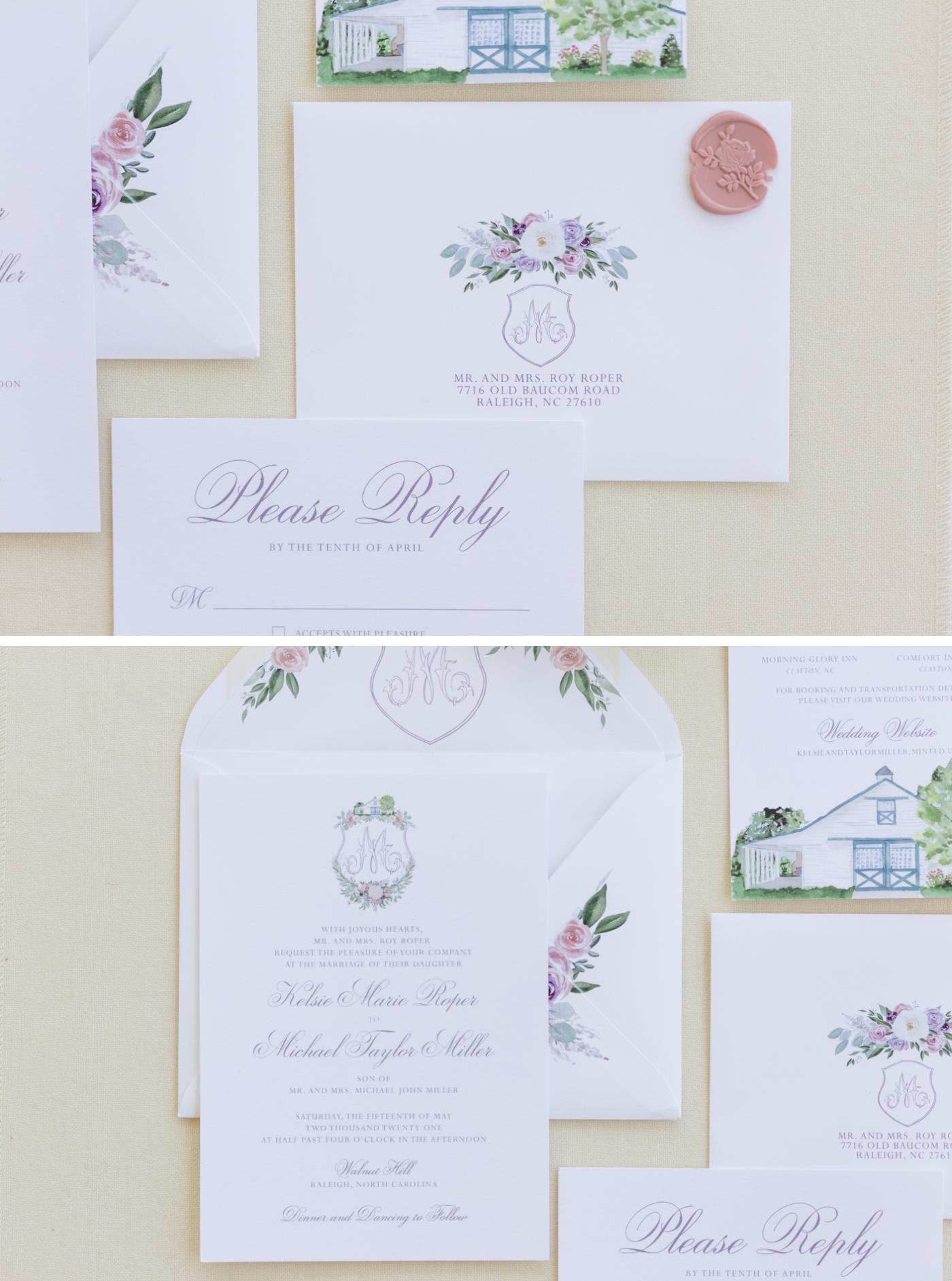 Hand-painted floral wedding invitation envelopes