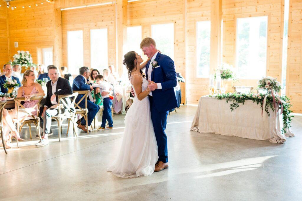 first dance at wedding reception at Walnut Hill