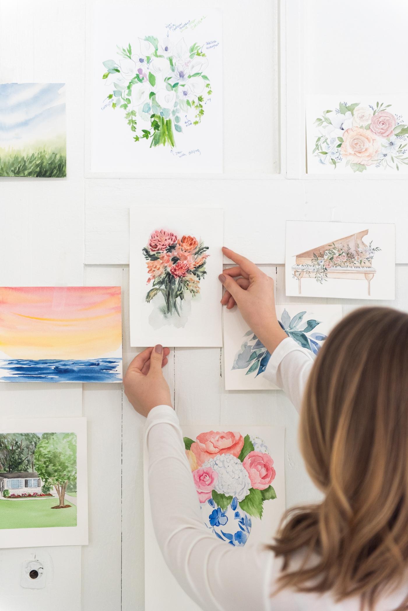 Custom hand-painted wedding venue invitations